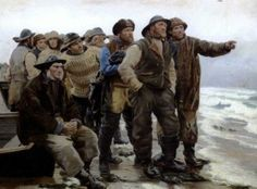 """""""Will he round the point"""" (Vil han klare pynten) by Michael Ancher"""