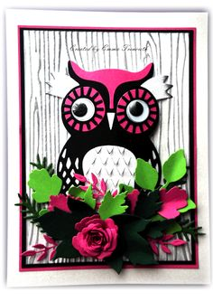 Pink and Black owl created with xcut build an owl die, spellbinders and memory box foliage dies. Stampin up wood embossing folder.