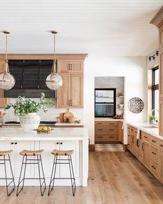 home Natural Wood Kitchen Design - Studio McGee Home Decor Kitchen, Kitchen Interior, Home Kitchens, Modern Farmhouse Kitchens, Kitchen Staging, Eclectic Kitchen, Vintage Modern Kitchens, Modern Kichen, Farmhouse Style