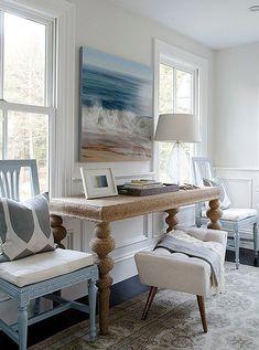 Serene costal-inspired living room.