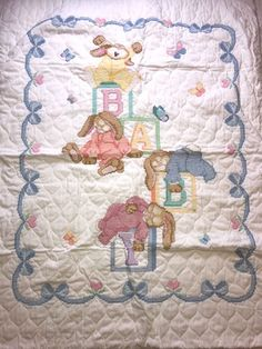 Baby Bunnies Rabbits Cross Stitch Quilted Infants Blanket Throw Gift | Baby, Nursery Bedding, Blankets & Throws | eBay!