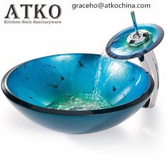 Add a pop of color to your bathroom with this Round Blue Tempered Glass Vessel Bathroom Sink designed to exude modern elegance. This vessel sink is handcrafted with solid tempered glass. The sturdy gl Cheap Countertops, Concrete Countertops, Kitchen Countertops, Bathroom Sink Design, Diy Bathroom Decor, Bathroom Ideas, Bathroom Updates, Bathroom Designs, Bathroom Remodeling