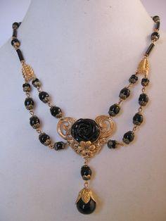 Vintage Czech Festoon Style Black Glass Rose and Brass Necklace