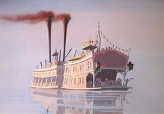 """Charming stylized Showboat pushed by a Towboat: original painted Disney animation background 9 X 13 inches. We believe this may was made for a Chip 'n Dale cartoon """"shorts"""" program. Book Cover Art, Book Art, Harper's Magazine, Uncle Toms Cabin, Shanty Boat, Thumbnail Sketches, Cotton Blossom, Music Illustration, Currier And Ives"""