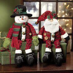 Dangle Leg Plush Santa & Snowman Shelf Sitters Christmas Decor for sale online Snowman Party, Snowman Christmas Decorations, Santa Decorations, Cute Snowman, Christmas Snowman, Christmas Crafts, Christmas Ornaments, Holiday Decor, Snowmen