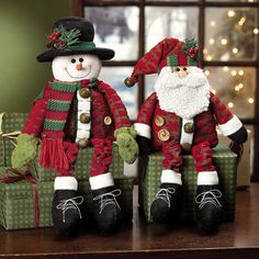 Dangle-Leg Santa & Snowman   Put them on boxes wrapped in wrapping paper outside on front porch