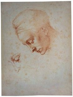 "Michelangelo Buonarroti, ""Study of an Inclined Head and Detailed Eye Study"""
