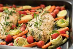 4 hverdagsmiddager du kan lage i langpanne Sheet Pan, Potato Salad, Healthy Living, Food Porn, Dinner Recipes, Food And Drink, Turkey, Cooking Recipes, Chicken