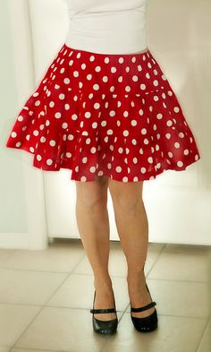 Minnie Mouse Red and White Polka Dot Mini Skirt Ruffle 3 tier Halloween Costume women adult Disney Cosplay by LittleLorelai on Etsy Maternity Wear, Maternity Dresses, Maternity Fashion, White Skirt Outfits, Cute Outfits, Mini Mouse Costume, Pregnant Halloween Costumes, Minnie Mouse Halloween, Coral Skirt