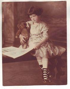 Pretty Little Girl Vintage Photo Steiff Toy Teddy Bear Dress Shoes Socks Book | eBay