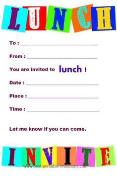 Printable Invitations to Lunch - Free invites from www.best-printable-invitations.com