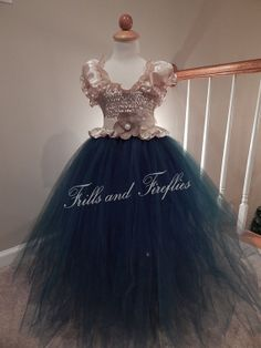Flower Girl Tutu Dress Champagne Beige Satin Top with Emerald Green Tulle Skirt...by Frills and Fireflies, $49.00