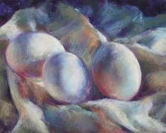 Still Life Objects | Still Life with Eggs...pastel, original painting by artist Karen ...