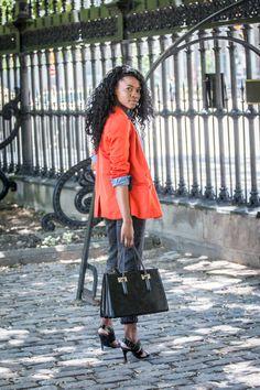 Statement orange blazer over Canadian Tuxedo/denim on denim Orange Blazer, Canadian Tuxedo, Nigerian Fashion, Fashion Bloggers, Personal Style, Runway, Passion, Female, Denim