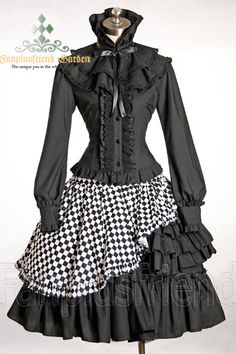 Elegant Gothic Lolita Puffy Cuffs Blouse& Jabot Choker Cape*2Colors Instant Shipping