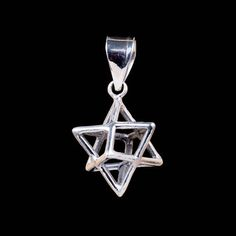 Merkaba Necklace, silver star of david pendant, star tetrahedron charm, sterling 925 sacred geome Silver Pendant Necklace, Silver Necklaces, Silver Jewelry, Burning Man Art, Star Of David Pendant, 3d Star, Flower Of Life, Silver Stars, Sacred Geometry