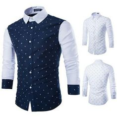 Cheap dress shirt, Buy Quality dress shirt fashion directly from China f shirts Suppliers: Men's Fashion Skull Prints Long Sleeve Casual Patchwork Button Down Dress Shirt Business Shirts, Business Men, Mode Style, Printed Shirts, Men's Shirts, Shirt Style, Casual Shirts, Ideias Fashion, Long Sleeve Shirts