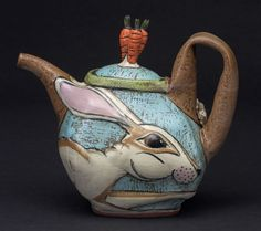 Lisa Naples - Ceramic Sculpture and Handmade Earthenware Pottery Pottery Teapots, Teapots And Cups, Ceramic Teapots, Ceramic Pottery, Ceramic Art, Teapot Design, Tea Pot Set, Chocolate Pots, Tea Ceremony