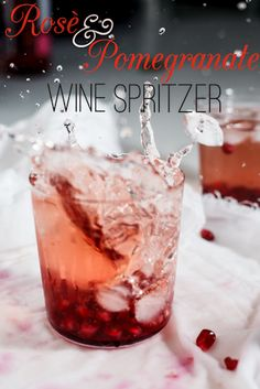 Beautiful for holiday cocktai parties -- Rosé wine Spritzers with Pomegranate. #Recipe #drinks