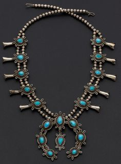 Navajo Turquoise, Silver Squash Blossom Necklace