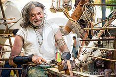 Wood carver craftsman blacksmith Celtic Festival medieval  medieval reenactment Editorial Photography