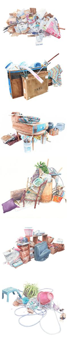 Jason Webb - paintings of trash - illustration of garbage boxes bags piles of rubbish
