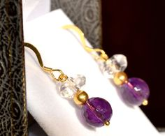 Beautiful Faceted Amethyst, Cut Rock Crystal, Gold Vermeil Earrings by British Jewellery Designer Marcia White.  MarciaWhiteUK, £48.80