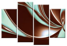 Peace in Brown and Duck Egg Blue Large Canvas Abstract 4-Panel Wall Art Picture 40 inch 101cm Romantic soft tranquil and beautifully coloured wall