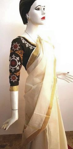 Kutch work blouse for kerala saree Sari Blouse Designs, Salwar Designs, Blouse Styles, Kutch Work Designs, Kerala Saree, Simple Sarees, Indian Designer Outfits, Embroidery Fashion, Work Blouse