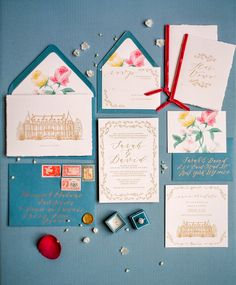 colorful wedding invitations - photo by Tim Tab Studios http://ruffledblog.com/parisian-chateau-wedding-inspiration