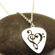 Guitar Pick Music Note Heart Necklace Pendant in by yhtanaff