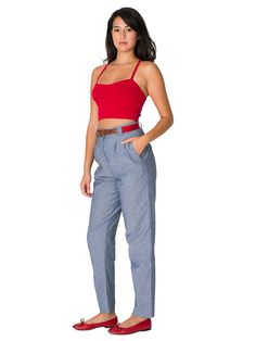 American Apparel Chambray High-Waist Pleated Pant - Blue / XS at Amazon Women's Clothing store: