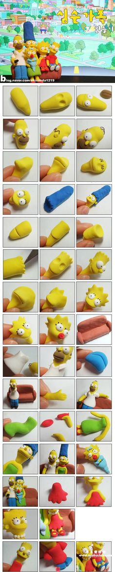 how to mold sculpt The Simpsons! This can be used for lots of things, fondant for cake decorating, fimo for jewelry. anything that can be molded! Crea Fimo, Fimo Clay, Polymer Clay Projects, Polymer Clay Charms, Polymer Clay Art, Clay Crafts, Bolo Simpsons, The Simpsons, Cake Topper Tutorial