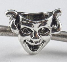 Drama Mask Silver Plate Large Hole Euro Bead Charm Mardi Gras, Art, Theater NEW