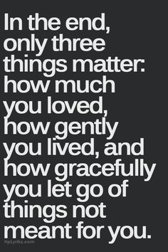 """In the end, only three things matter: how much you loved, how gently you live, and how gracefully you let go of things not meant for you."""
