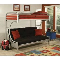 Eclipse Twin Bed Over Full Bed Futon Couch Bunk Bed Silver Ladder Furniture #Eclipse #Contemporary