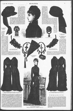 Mourning Dress: a page with Mourning Dresses in the Dutch Fashion Magazine De Gracieuse. April 1880.