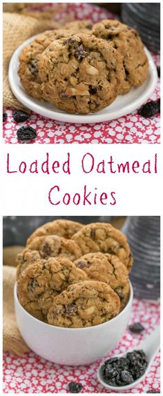 Loaded Oatmeal Cookies Chewy Oatmeal Cookies Filled With Almonds Dried Cherries And Chocolate