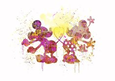 Mickey Mouse Minnie Love Disney Watercolor Print di MadamePrint, €9.90