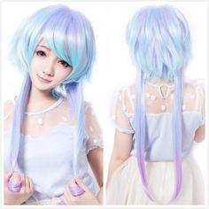 Fashion Girl Mixed Blue White Hair Long Anime Cosplay Wig Heat Resistant WIG