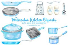 Blue Kitchen Cliparts by @Graphicsauthor