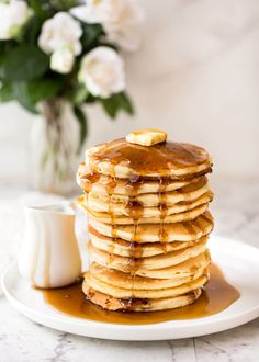 Simple, fluffy pancakes made from scratch. What a way to start the day! These are fuss free, easy to make and not too sweet so go wild with toppings!