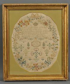 """Framed Schoolgirl Sampler, England, """"Fra.s Beamont/Ages 10 Years/1802,"""""""