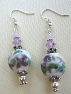 Violet and Green Lampwork Earrings by BeadsMe on Etsy #JetJOD #jewelryonetsy