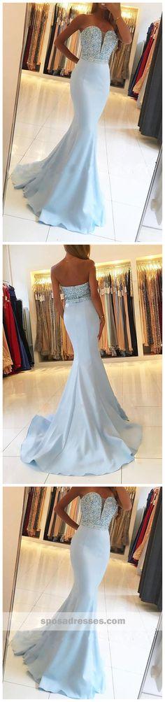 Strapless Light Blue Sweetheart Mermaid Long Custom Evening Prom Dresses, 17455