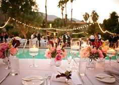 String lighting, pink, green and purple arrangements.