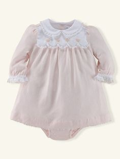 Embroidered Pima Cotton Dress - Dresses & Rompers   Layette Girl (Newborn–9M) - RalphLauren.com
