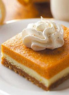 Recipe for Pumpkin Dessert Bars - There's no need to be stuck with plain pumpkin pie. These dessert bars are a great way to change it up, while keeping the pumpkin pie flavor that you love!