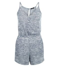 Teens Navy Fine Knit Wrap Playsuit   New Look