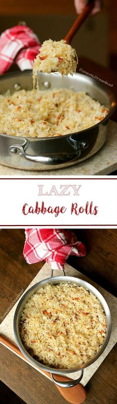 These lazy cabbage rolls are based on Ukrainian sour cabbage rolls with rice, sauerkraut and bacon, but without the extra work to roll them! Cabbage Rolls Polish, Lazy Cabbage Rolls, Sour Cabbage, Cabbage Rolls Recipe, Ukrainian Cabbage Rolls, Pastry Recipes, Cooking Recipes, Ukrainian Recipes, Ukrainian Food